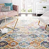 Safavieh Madison Collection MAD611B Boho Chic Floral Medallion Trellis Distressed Non-Shedding Stain Resistant Living Room Bedroom Area Rug, 6'7' x 9'2', Cream / Multi