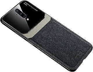ون بلس 7T برو حافظة هاتف من الجلد الناعم سيليكون غطاء حماية زجاجي One plus 7T Pro - أسود