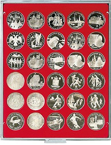 LINDNER Das Original Münzbox Standard mit 30 runden Vertiefungen für Münzen mit Ø39 mm