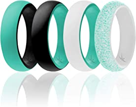 ROQ Silicone Wedding Ring for Women - Affordable Silicone Rubber Rings - 4 Packs & Singles - Dome Style, 2 Colors - Glitter, Marble, Metallic, Matte - Safe, Flexible, Light with Classic Design
