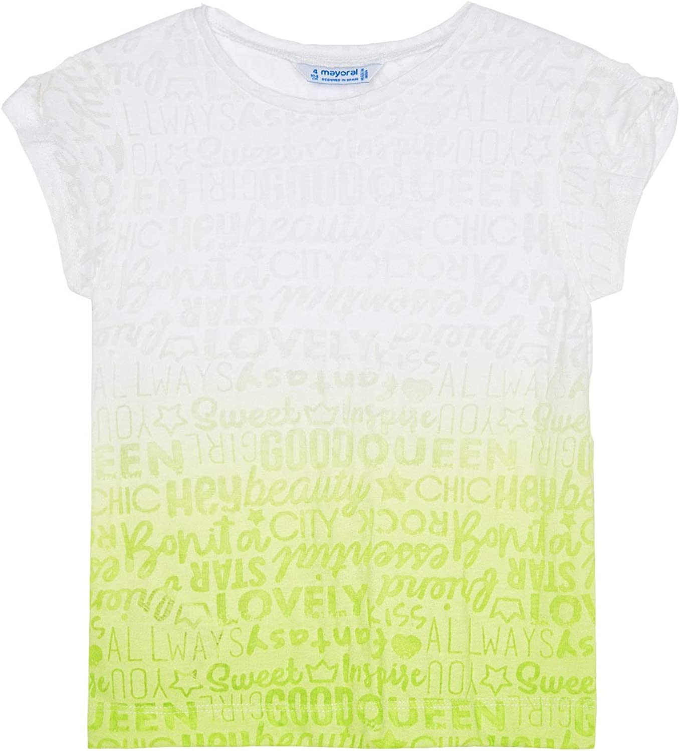 Mayoral - s/s Tye dye t-Shirt for Girls - 3017, Lime