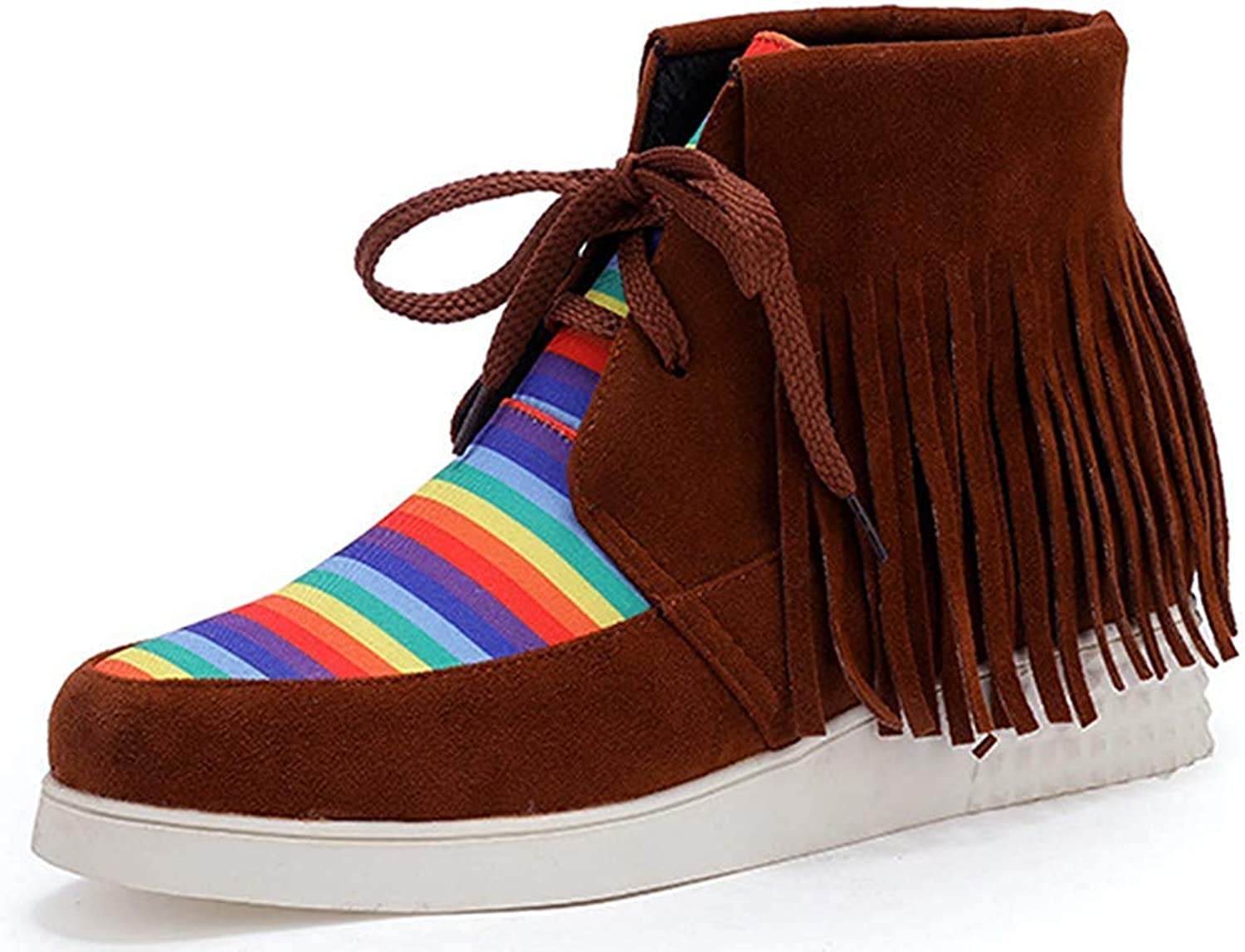Ghssheh Women's Fringe Short Boots color Block Round Toe Lace Up Flat Ankle Booties Brown 4.5 M US