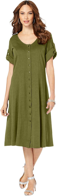 Roamans Women's Plus Size Button-Front Soft Knit Dress