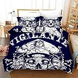 Totenkopfmuster 3D Blau Bettbezug, Mit Reißverschluss, Weiche Polyesterbettwäsche, Zwei Kissenbezüge, Stilvoll Und Individuell 135X200Cm
