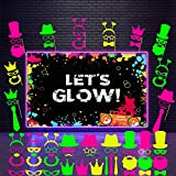 46 Pieces Glow Party Supplies Including Let's Glow Neon Party Banner Glow Party Backdrop 45 Photo Booth Prop Fully Assembled Fluorescent Paper Posing Prop for Glow Birthday Party Halloween Christmas