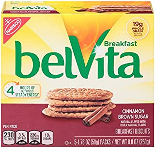 belVita Cinnamon Brown Sugar Breakfast Biscuits, 5 Count Box, 8.8 Ounce