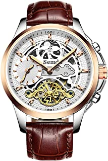 Mens Watches,Mens Automatic Skeleton Watches for Men,Genuine Leather Strap,MoonPhase,Dual Time, 5ATM Waterproof Mechanical Wrist Watches Gifts for Men