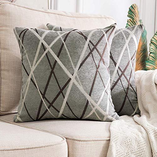 MIULEE Fundas de cojín para sofá Gamuza Sintética Almohada Caso de Diseño Geométrico Decorativas Fundas Cojines 18 x 18inch 45 x 45cm 2 Pieza Helado Gris