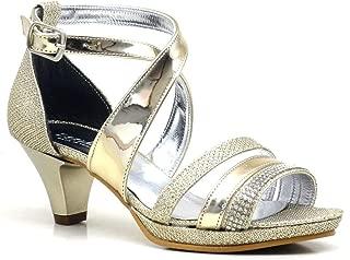 Taşlı Altın Rengi Topuklu Kız Çocuk Abiye Ayakkabı