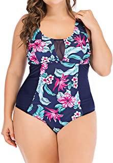 af2cfe0673f9a FEDULK Womens Plus Size One Piece Floral Print Swimsuit Monokini Push Up  Padded Swimwear Beachwear