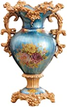 ZR-DECOR European-Style Retro Resin Large Flower Vases for Living Dining Room Table Centerpiece Bedroom Office Hotel Home Decoration Hand-Painted Tall Decorative Vase, Blue(31cm× 46cm)