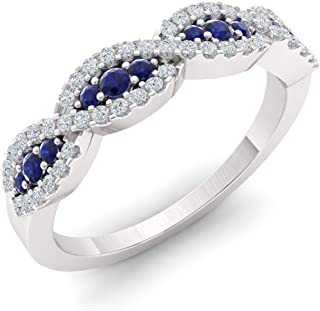 Diamondere Natural and Certified Blue Sapphire and Diamond Wedding Ring in 10K White Gold | 0.48 Carat Swirl Wedding Band for Women, US Size 4 to 9