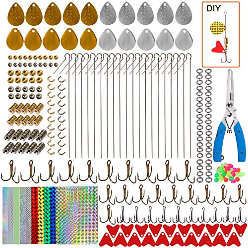 Fishing Lures DIY Kit – 261pcs Fishing Spoon Rig Treble Hook Spinner Blade Bait Split Ring Holographic Adhesive Film Pliers Scissor