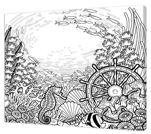 Pintcolor 7818.0 châssis avec Toile imprimée à colorier, Bois de Sapin, Blanc/Noir, 40 x 50 x 3,5 cm