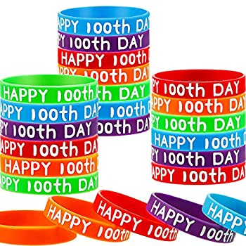 100th Day of School Silicone Bracelets Wristbands Rubber Bracelets Happy 100th Day of School Rubber Bracelets for School Party Supplies Decoration  50 Pieces