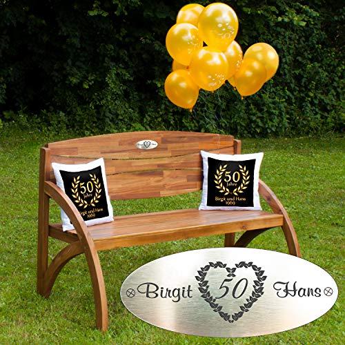 Set voor gouden bruiloft: houten tuinbank met gepersonaliseerde gravure, tien ballonnen, twee kussens, cadeau - persoonlijke geschenken voor gouden bruiloft zwart