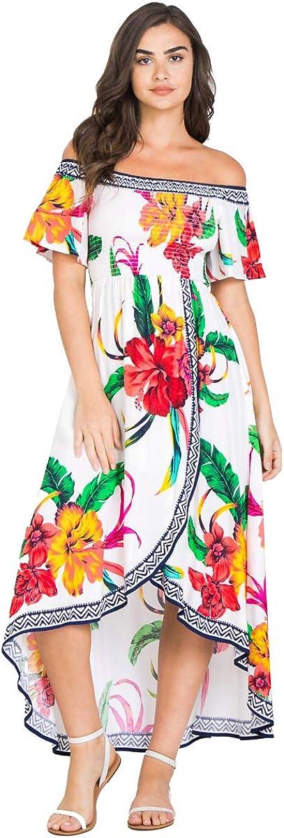 Bohemian Off Shoulder Maxi Dress - Hi Low Hem Tropical Floral Smocked Dress