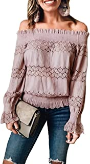 Women's Sexy Stretchy Off Shoulder Ruffle Long Sleeve Smocked Waist Lace Crochet Chic Blouse Tops Shirt