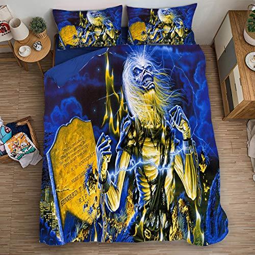 XKNSYMRL Funda Nordica 150X200 Infantil, Iron Maiden Impresión Digital 3D Funda Nórdica 180, Upgrade Poliéster Microfibra Sleep Down Conjuntos De Ropa De Cama, para Niños Muchachos (220X240Cm)