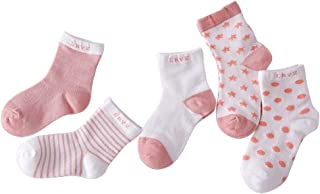FENICAL 5 Pairs of Unisex Baby Boys Girls Newborn Cotton Socks for Kids 4-6 Year Old (Watermelon Red)