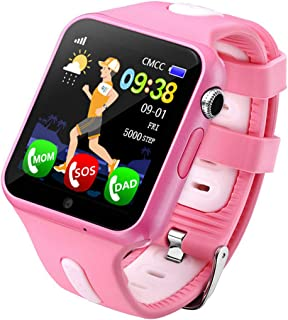 Fan-Ling 1PCS Kids GPS Smartwatch,1.44 inch Anti-Lost Smart Watch for Children Girls Boys,Multifunction Smartwatch,GPS Tracker Watch,Support Music,Weather Report (E)