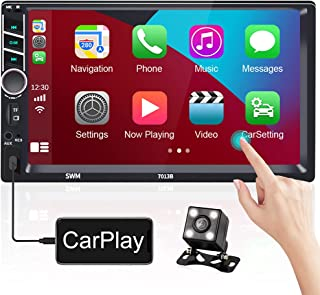 $89 » 7 Inch Double Din Stereo with Apple Carplay Touch Screen Car Radio Bluetooth Hands Free FM Receiver with USB/AUX-in/RCA Po...