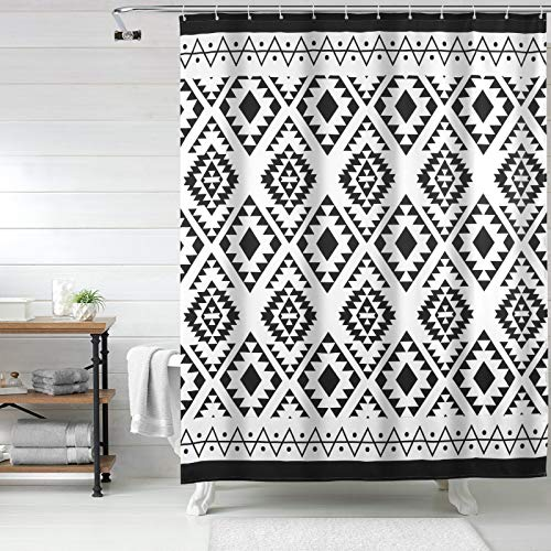 Uphome Boho Shower Curtain Black and White Fabric Shower Curtain with Hooks Chic Tribal Geometric Cloth Bathroom Curtains Set Waterproof and Weighted Hem for Modern Hotel Decorative Accessories 60x72
