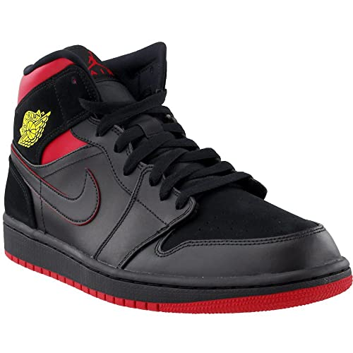 new style 45c7e e798b Jordan 554724-076  Air 1 Mid Basketball Shoe Black Tour Yellow Gym Red  Sneakers