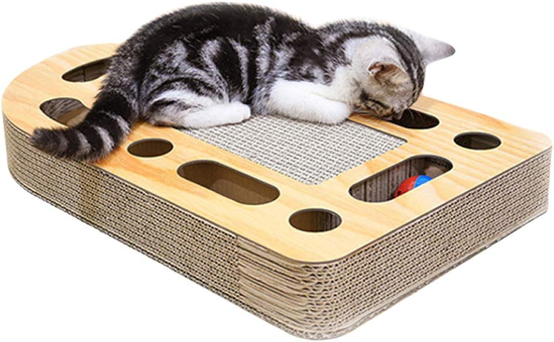 Gohunter Cat Scratcher with Bell Balls Cardboard Cats Scratcher Lounge Cat Toy (Bullet)
