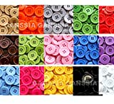 GANSSIA 1 Inch Buttons 25mm Sewing Flatback Button 15 Colors Multi Pack of 90 with Box (Each Color 6 pcs)