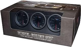 GlowShift Tinted 7 Color Diesel Truck 3 Gauge Kit Set - 60 PSI Boost - 2400 F Pyrometer Exhaust Gas Temp EGT - Transmission Temperature - Black Dial - Smoked Lens - 2-1/16