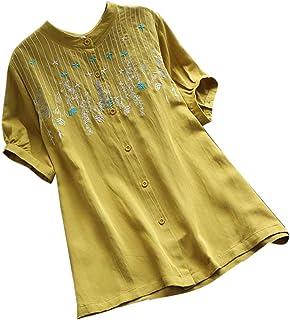 LISTHA Vintage Henley Blouse Women Embroidery Button Short Sleeve Linen Tops Tee