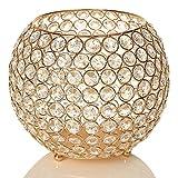VINCIGANT Gold Kristall Kerzenhalter Schüssel für Weihnachtsdeko Hochzeit Kerzen Haus Dekoration Urlaub Feier,Durchmesser 20cm