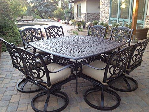 Heritage Outdoor Living Santa Monica Cast Aluminum 9pc Dining Set 64'x64' SQ Table - Antique Bronze