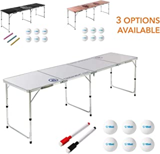 8 Foot Beer Pong Table by Rally and Roar – 3 STYLE OPTIONS - Portable Party Drinking Games - Official 8ft x 2ft x 27.5in Regulation Size - Tournament Ready - Premium Indoor-Outdoor Beirut Table