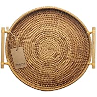 DECRAFTS Rattan Bread Basket Round Woven Cracker Tray with Handles for Serving Dinner Parties Coffee Breakfast (11 inches)