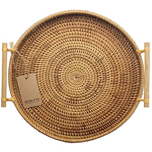 DECRAFTS Round Rattan Bread Basket Woven Serving Tray with Handles for...