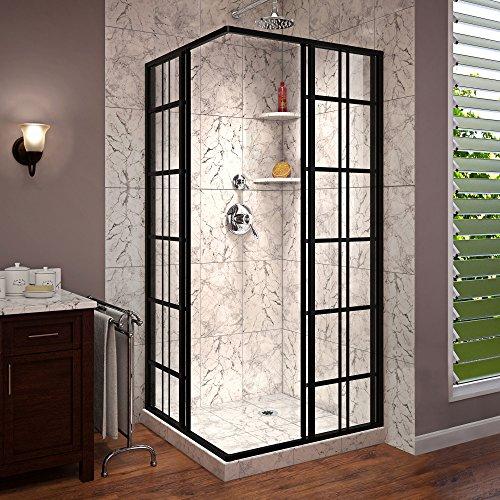 DreamLine French Corner 40 1/2 in. D x 40 1/2 in. W x 72 in. H Framed Sliding Shower Enclosure in Satin Black, SHEN-8140400-89