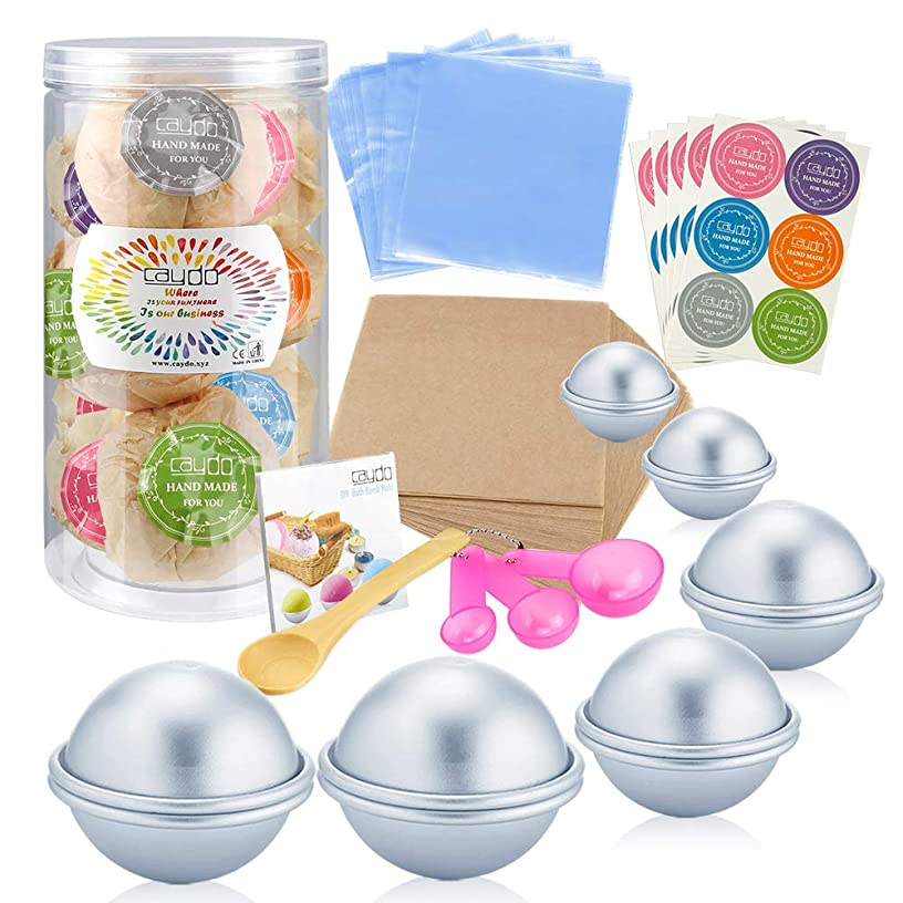 Caydo 176 Pieces DIY Bath Bomb Molds Set with Instructions Including 12 Pieces 3 Size DIY Metal Bath Bomb Molds, Spoons, Wrapping Papers, Shrink Wrap Bags for Crafting Your Own Fizzies