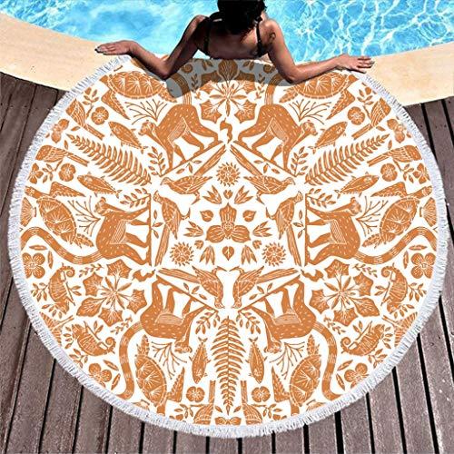 AFFE, pescado, tortuga, pájaro, flor, lagarto, planta, grande, redonda, toalla de playa, ligera, microfibra, toalla de playa, toalla de baño, toalla de picnic, toalla de yoga, color blanco, 150 cm