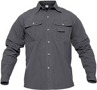 CRYSULLY Men's Convertible Shirts Outdoor Quick Drying Hiking Camping Shirts Long/Short Sleeve Shirt