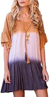 Women's Casual Gradient Printed Mini Dress Fashion O-Neck Short Sleeve Ruffles Short Dresse