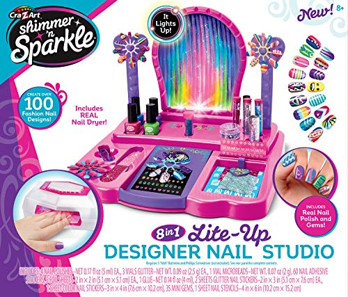 Cra-Z-Art Shimmer 'N Sparkle Real Light Up 8-in-1 Nail Design Studio