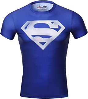 Red Plume Men's Compression Sports Short Sleeve Tee Super Logo Fitness Gym T-Shirt