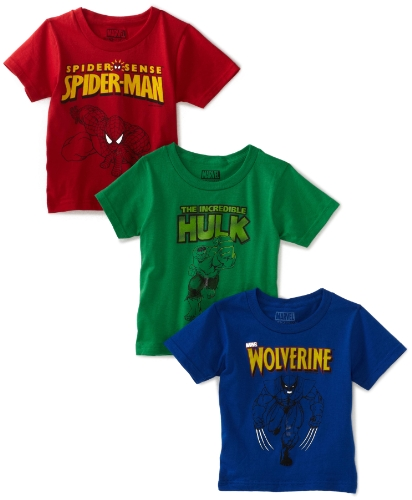 Fruit of the Loom Boys 2-7 FunpalsMarvel Heroes Crew Shirt, Assorted, 6(Pack of 3)