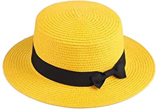 2019 Boater Panama Hat Lady Brand Classic Bowknot Straw Flat,Yellow,Adult Size