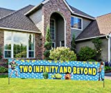 Two Infinity and Beyond Banner, Toy Themed Story Happy Birthday Banner, Toy Themed Story 2nd Birthday Party Decorations (9.8*1.6 feet)