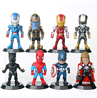 Jianyia Superhero Deluxe Lineup 8 Action Figures Figurines Included Spider Man Captain America Black Panther Thor Thanos and 3 pcs Iron Man
