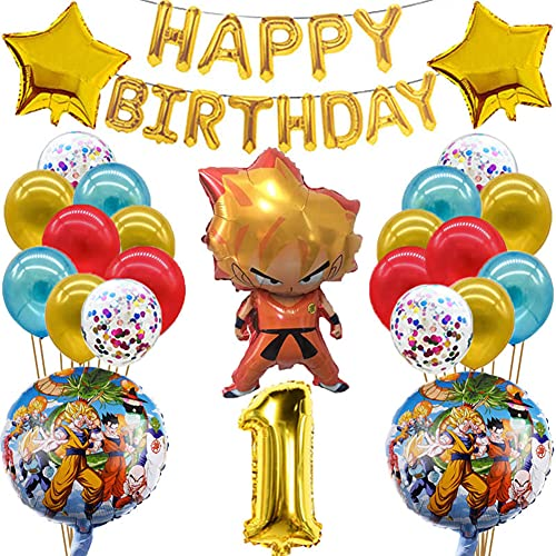 Dragon Ball Cumpleaños Decoracion Juego Globos,BKJJ Dragon Ball Juego Tema de Cumpleaños Suministros de Fiestas Fiesta de Tema de Juegos Incluye Globos de Látex