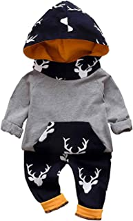 Chumhey Infant Baby Hooded Cotton Sweaters Knitted Trousers Allover Deer Printed Pants Set